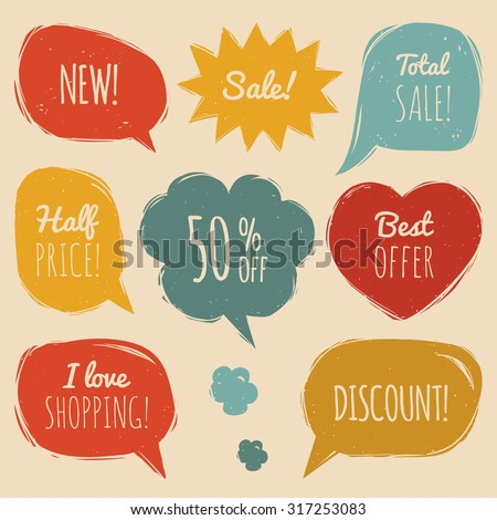 Vector set of comic sale speech bubbles in trendy flat style. Shopping phrases in speech balloons: New, Sale, Half price,discount, I love shopping, Best offer, Total Sale - stock vector