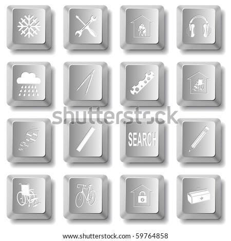 Vector set of computer keys - stock vector