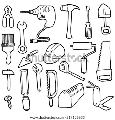 vector set of construction tool - stock vector