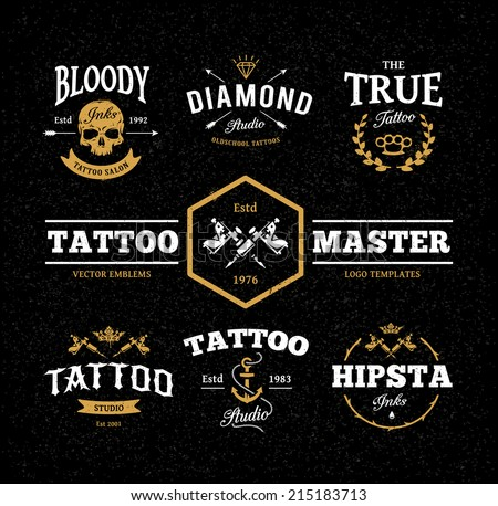 Vector set of cool tattoo studio logo templates on dark background. Retro styled trendy vector emblems. - stock vector