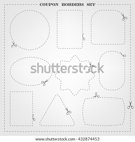 Vector set of 9 coupon borders templates with scissors. Fully editable cut line frame collection for packaging, coupons, sale banners, clothing tags design and your different projects. - stock vector