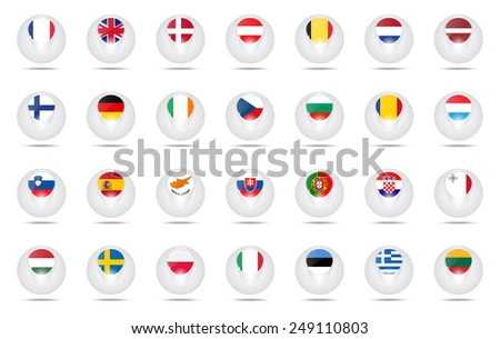 Vector. Set of creative icons balls with flags schematic of countries members of the European Union (EU). - stock vector