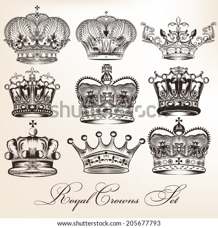 Vector set of crowns for your heraldic design - stock vector