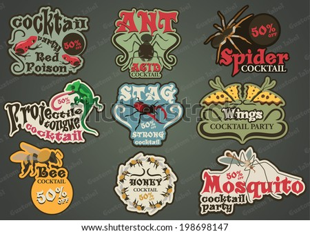 Vector set of custom insect and animal labels - stock vector