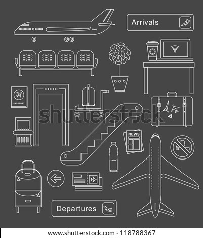 Vector set of cute airport icons and signs - stock vector