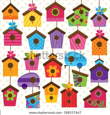 Vector Set of Cute and Colorful Bird Houses - stock vector