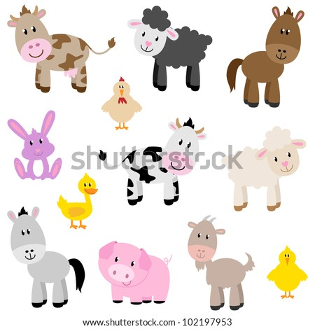 Vector Set of Cute Farm Animals - stock vector