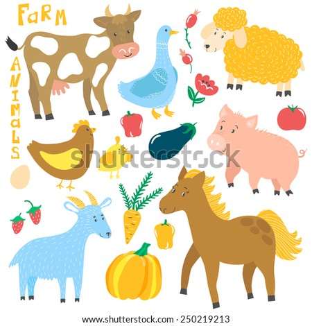 Vector set of cute farm animals: cow, horse, pig, sheep, goat, hen with chicken, goose and different floral elements: berries, vegetables, flower. Cute cartoon characters isolated on white. - stock vector