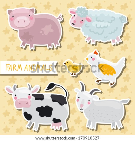 Vector set of cute farm animals: cow, pig, sheep, goat, hen with chickens, goose - stock vector