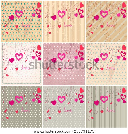 Vector set of cute hand drawn style floral romantic Valentine's Day background - stock vector