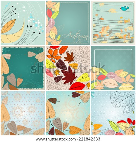 Vector set of cute hand drawn style retro autumn illustrations - stock vector