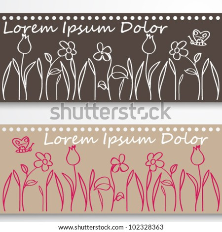 Vector set of cute hand drawn style spring meadows illustration - stock vector