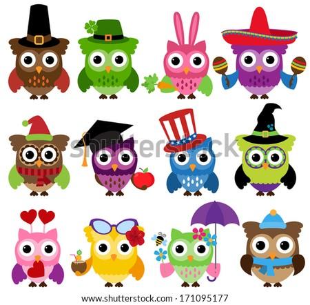 Vector Set of Cute Holiday and Seasonal Owls - stock vector