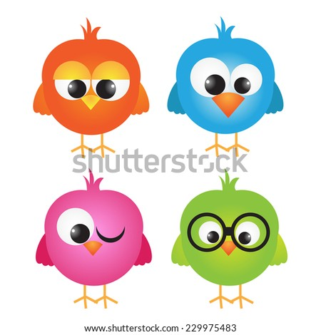 vector set of cute owls - stock vector