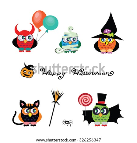 Vector set of cute Owls are dressed in costumes of devil, witch, vampire, cat, mummy. Funny traditional cartoon characters of Halloween. Set of Owl icons. Happy Halloween design elements. Isolated.  - stock vector