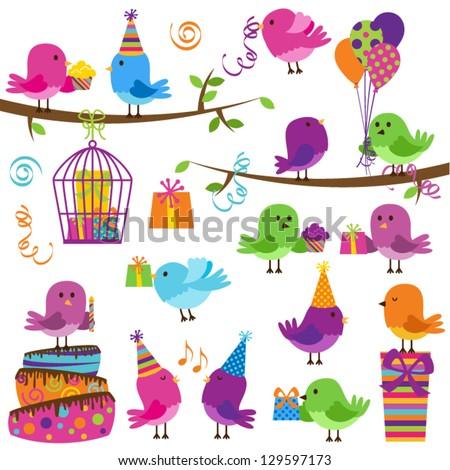 Vector Set of Cute Party Themed Birds - stock vector