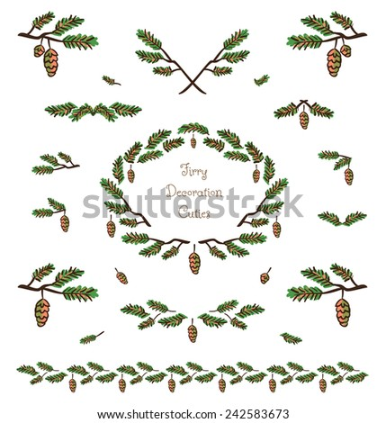 Vector set of cute pine tree twigs decorative elements, borders and vignettes made of fir tree cones and branches for cards and design - stock vector