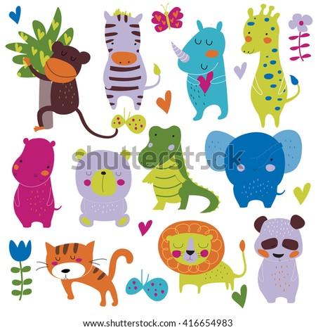 Vector set of cute safari animals in cartoon style. Monkey, zebra, rhino, giraffe, hippo, koala, alligator, elephant, tiger, lion, panda. - stock vector