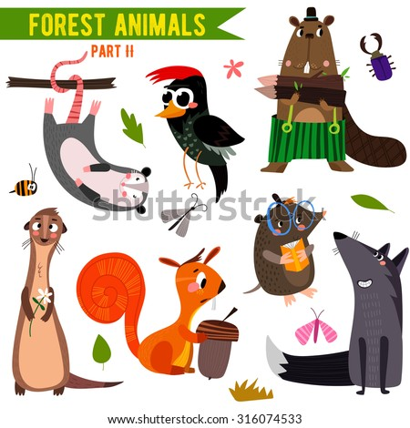 Vector Set of Cute Woodland and Forest Animals. Part II: opossum, beaver, wolf,mole, squirrel, woodpecker,ferret.