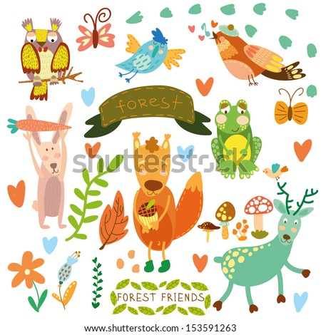 Vector Set of Cute Woodland and Forest Animals.Squirrel,rabbit, nightingale, frog, deer, owl, bird, ,butterfly.(All objects  are isolated groups so you can move and separate them) - stock vector