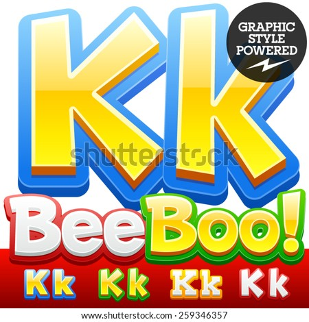 Vector set of 3D colorful children font in cartoon style. Optional different colors. Letter K - stock vector