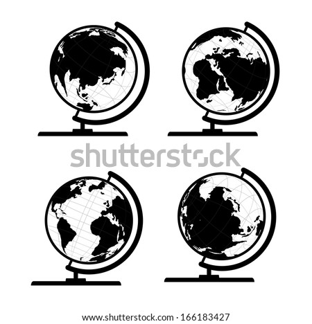 Vector set of 3D world map or globe, series 3 globe with stand - stock vector