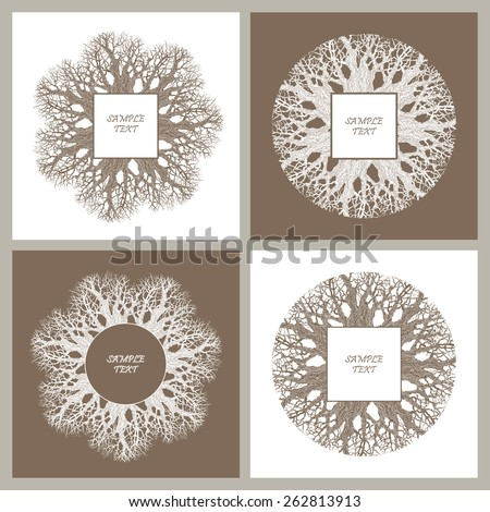 Vector set of decorative art deco frames from tree branches - stock vector