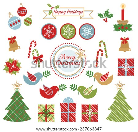 Vector Set of Decorative Christmas Icons - stock vector