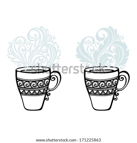 Vector Set of Decorative Cups of Tea with Steam - stock vector