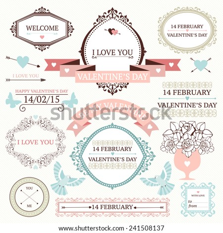 Vector set of decorative design elements for valentine's day. Vintage valentine's day collection with frames, borders, icons, banners. - stock vector