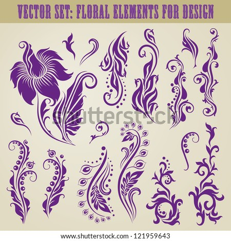 Vector set of decorative elements for design. Floral vintage collection. - stock vector