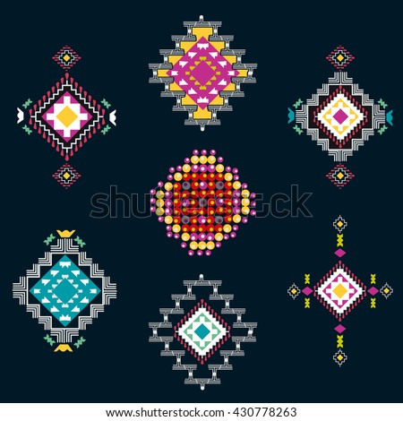 Vector set of decorative ethnic with american indian motifs. Boho style. Tribal design elements. - stock vector