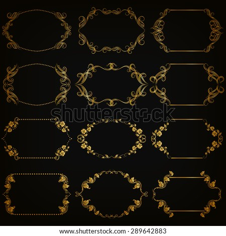 Vector set of decorative hand drawn elements, border, frame with floral elements for design of invitation, greeting, wedding, gift card, certificate, diploma, voucher. Page decoration in vintage style - stock vector