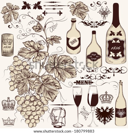 Vector set of decorative hand drawn elements in vintage style - stock vector