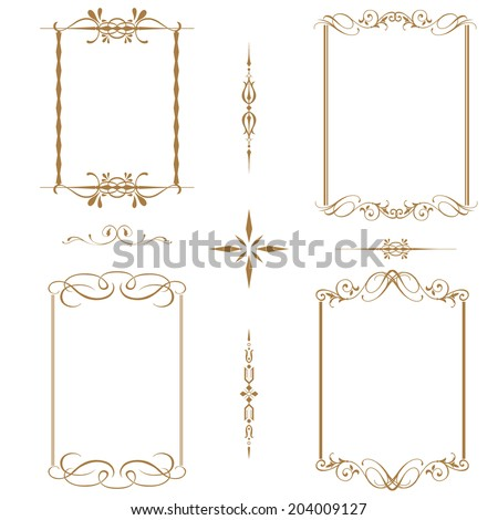 Vector set of decorative horizontal elements, border and frame - stock vector