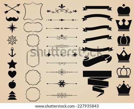 Vector set of Decorative Ornament Borders and Page Dividers, frames, ribbons, banners, crowns and objects for vintage design.  - stock vector