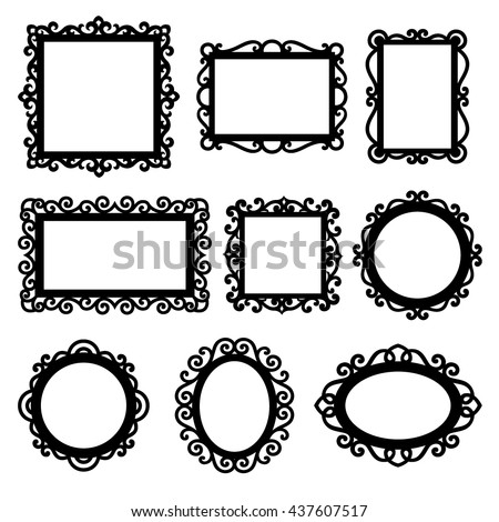 Vector set of decorative ornamental frame silhouettes - stock vector