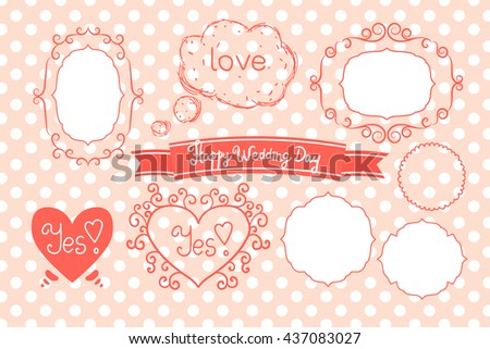 Vector set of decorative wedding elements.Polka dot on the background. Pink vector elements for decorating wedding design. Frames simple,frame with swirls, heart, conversation bubble of love. - stock vector