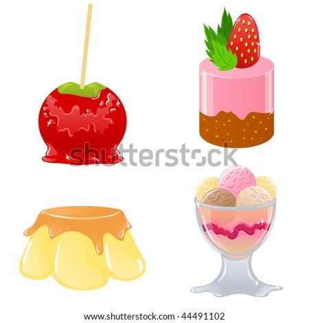 Vector set of delicious desserts - stock vector