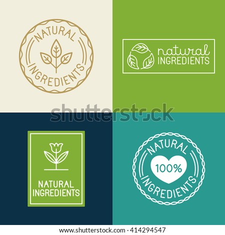 Vector set of design elements and badges for food and cosmetics packaging - natural ingredients - labels and emblems - stock vector