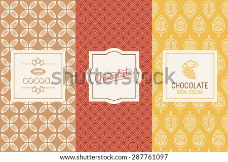 Vector set of design elements and seamless pattern for chocolate and cocoa packaging - labels and background in trendy  linear style - stock vector