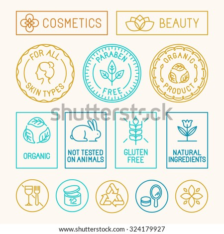 Vector set of design elements, icons and badges in trendy linear style for natural cosmetics packaging - paraben free, organic product, not tested on animals - stock vector