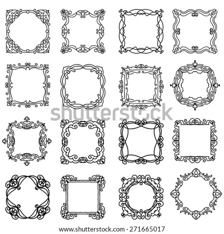 Vector set of design elements: Ornate Frames - stock vector