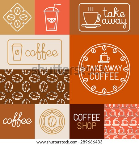 Vector set of design elements, seamless patterns and logo templates for coffee houses and shops - coffee to go signs and badges - stock vector