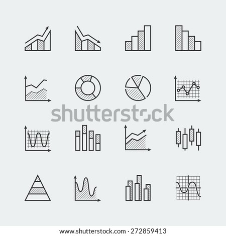 Vector set of diagram and graphs related icons - stock vector