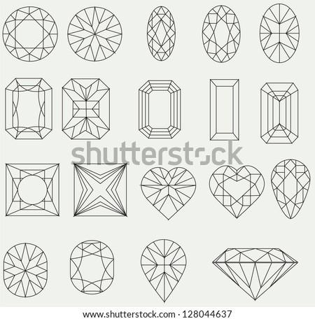 Vector set of diamond design elements - stock vector