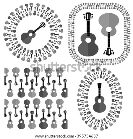 Vector Set of Different Acoustic Guitars Silhouettes - stock vector