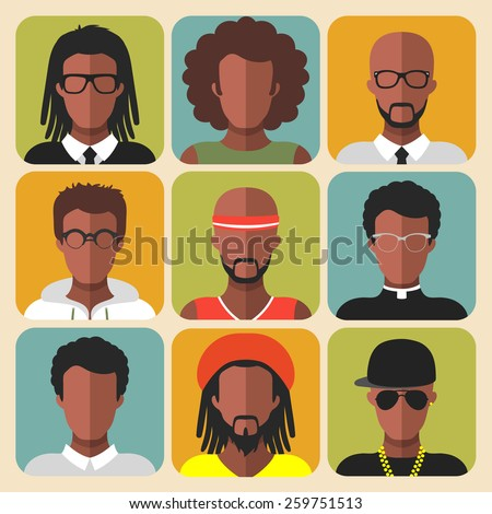 Vector set of different african american man app icons in trendy flat style - stock vector