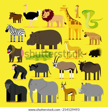 Vector Set Of Different African Animals Isolated - stock vector