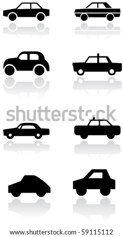 Vector set of different car symbols. All vector objects are isolated. Colors and transparent background color are easy to adjust. - stock vector